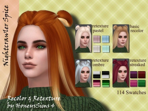 The Sims Resource: Nightcrawler`s Spice hair recolored by Jenn Honeydew Hum for Sims 4