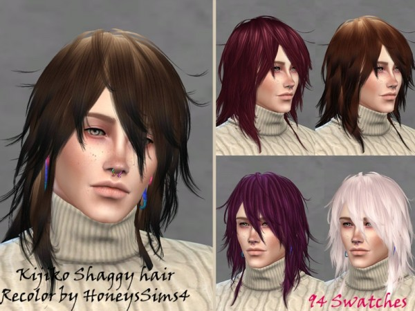 The Sims Resource: Shaggy hair retextured by Jenn Honeydew Hum for Sims 4