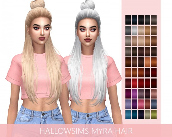 Frost Sims 4: HallowSims Myra hair retextured for Sims 4
