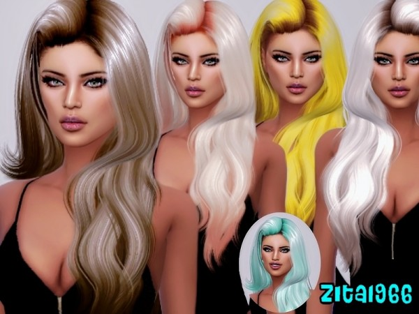The Sims Resource: Highlights hair recolored by ZitaRossouw for Sims 4