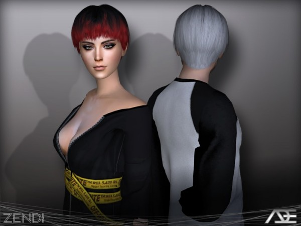The Sims Resource: Zendi hair by Ade Darma for Sims 4