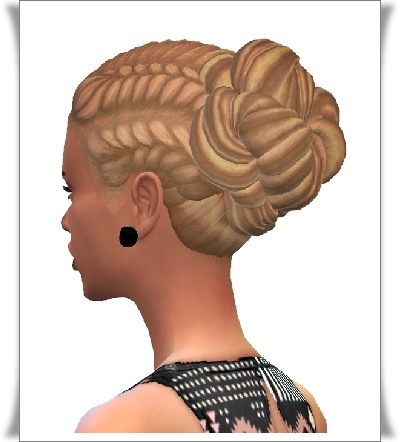 Birksches sims blog: Pull Back Braid Bun Hair for Sims 4