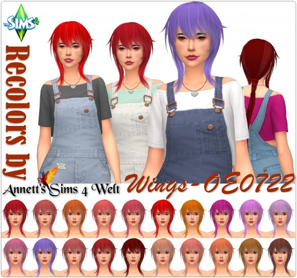 Annett`s Sims 4 Welt: Wings OE0722 Hairs Recolored for Sims 4