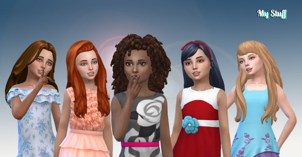 Mystufforigin: Girls Long Hair Pack 17 for Sims 4