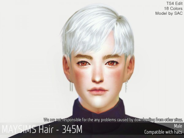 MAY Sims: MAY345M hair retextured for Sims 4