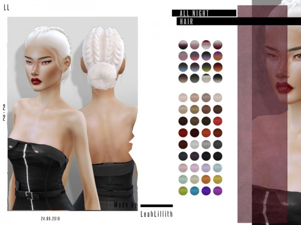 The Sims Resource: All Night Hair by Leah Lillith for Sims 4