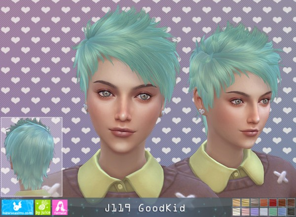 NewSea: J119 Good Kid hair for her for Sims 4