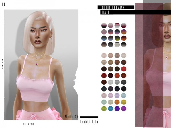 The Sims Resource: Neon Dreams Hair by Leah Lillith for Sims 4