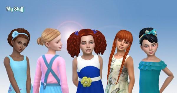 Mystufforigin: Girls Tied Hairs Pack 8 for Sims 4