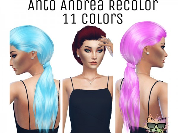 The Sims Resource: Anto`s Andrea hair recolored by KittysNerdCorner for Sims 4