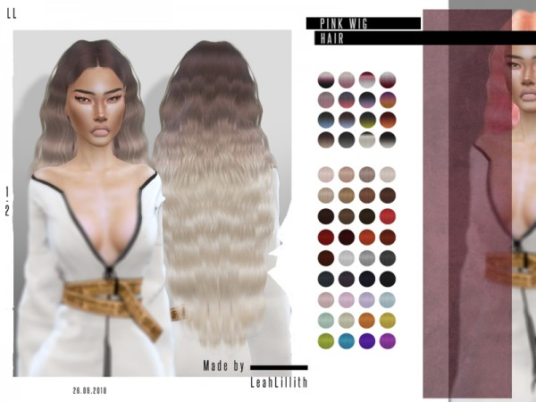 The Sims Resource: Pink Wig Hair by  LeahLillith for Sims 4
