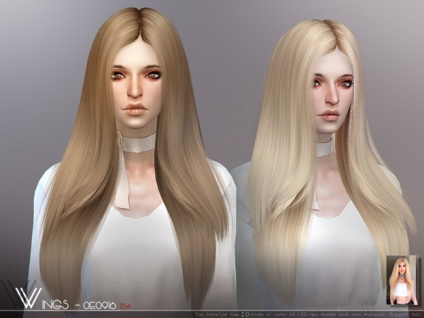 The Sims Resource: WINGS OE0916 hair for Sims 4