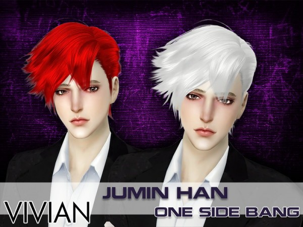 The Sims Resource: JuminHan One Side Bang hair retextured by VivianDang for Sims 4