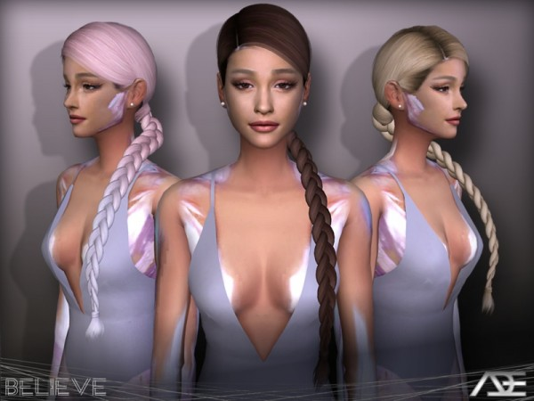 The Sims Resource: Believe hair by Ade darma for Sims 4