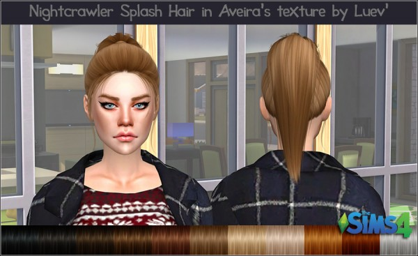 Mertiuza: Nightcrawler`s Splash hair retextured for Sims 4