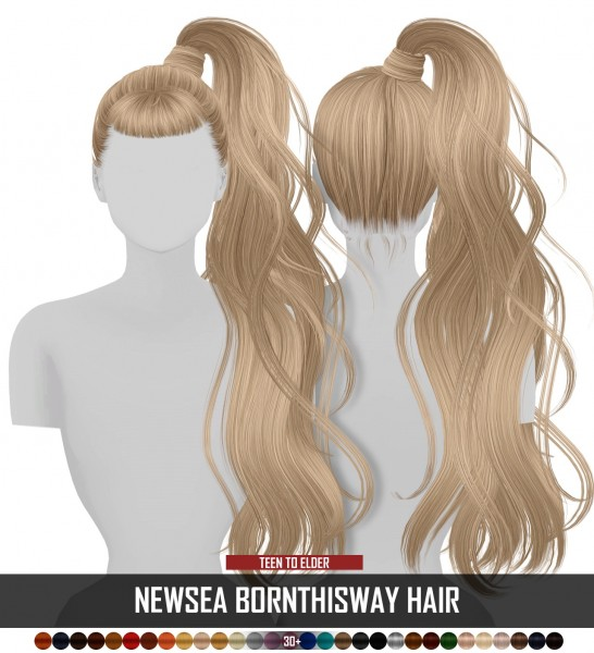 Coupure Electrique: Newsea`s Born This Way hair retextured for Sims 4