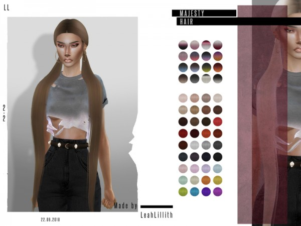 The Sims Resource: Majesty Hair by Leah Lillith for Sims 4