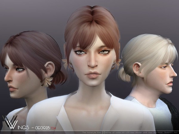 The Sims Resource: WINGS OE3028 hair for Sims 4