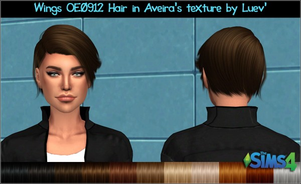 Mertiuza: Wings OE0912 hair retextured for Sims 4