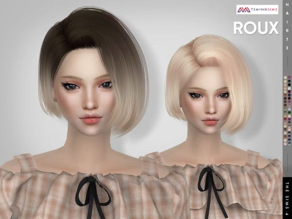 The Sims Resource: Roux Hair 73 by TsminhSims for Sims 4