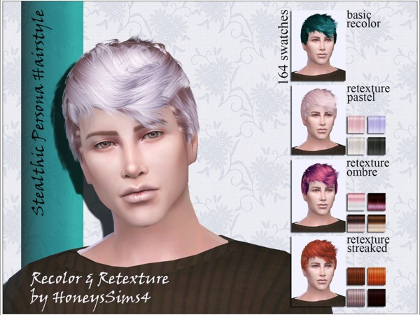 The Sims Resource: Stealthic`s Persona Hair Retextured by Jenn Honeydew Hum for Sims 4