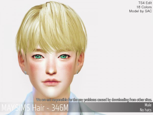 MAY Sims: MAY346M hair retextured for Sims 4