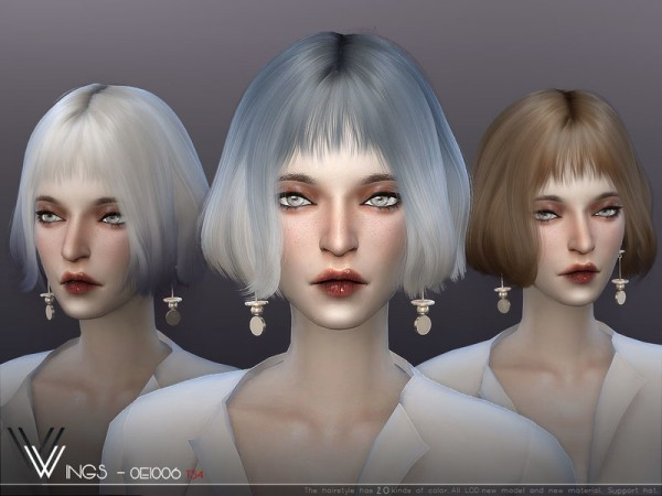 The Sims Resource: WINGS OE1006 hair for Sims 4