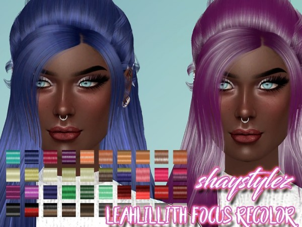 The Sims Resource: LeahLillith`s Focus Hair Recolored by shaystylez for Sims 4