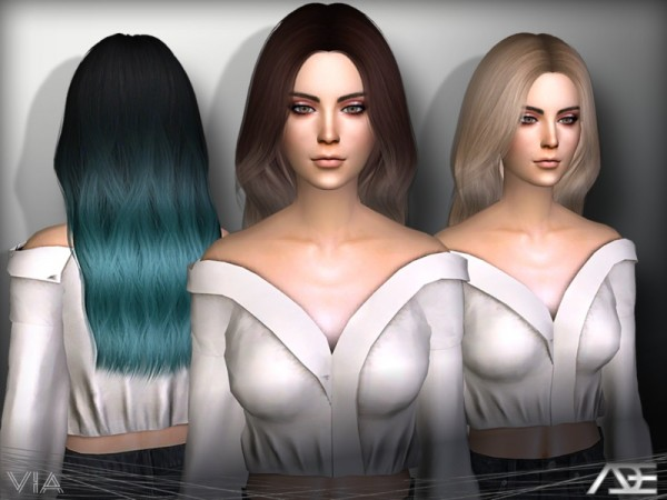 The Sims Resource: Via hair by Ade Darma for Sims 4