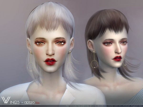The Sims Resource: WINGS OE1020 hair for Sims 4