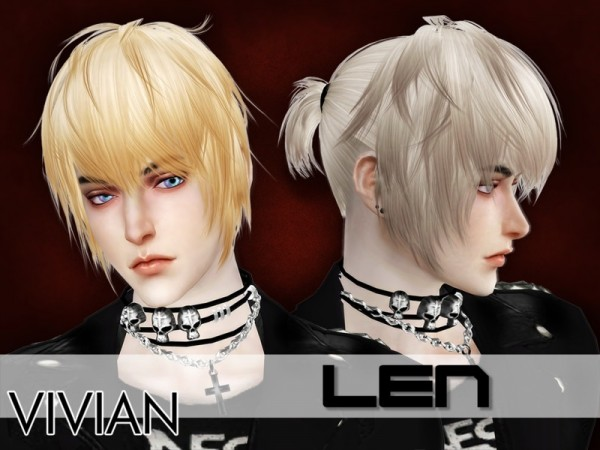 The Sims Resource: Len hair by VivianDang for Sims 4