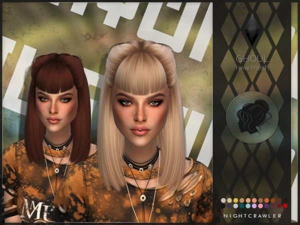 The Sims Resource: Ghoul hair by Nightcrawler for Sims 4