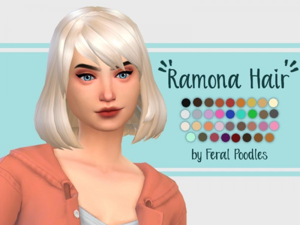 The Sims Resource: Ramona Hair Retextured byferalpoodles for Sims 4