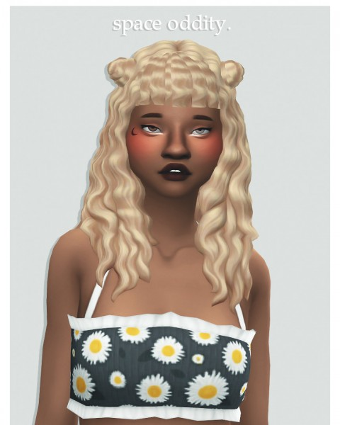 Cowplant Pizza: Space oddity hair recolored for Sims 4