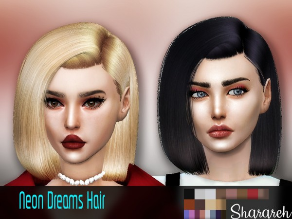 The Sims Resource: Neon dreams hair retextured by Sharareh for Sims 4