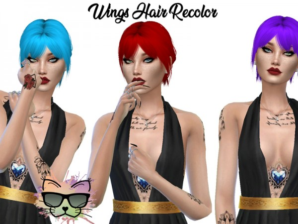 The Sims Resource: WINGS OE3028 Hair Recolored for Sims 4