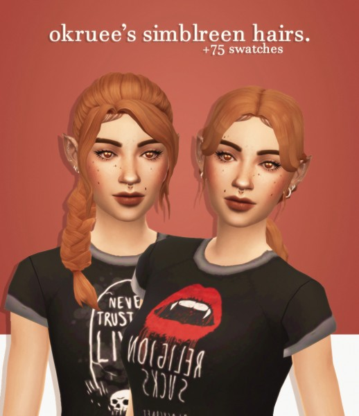 Cowplant Pizza: Simblreen`s hairs recolored gift 3 for Sims 4