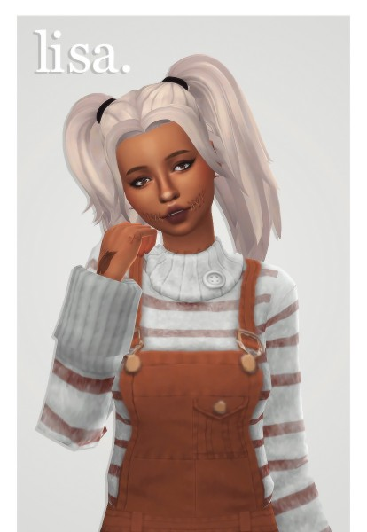 Cowplant Pizza: Lisa hair recolored for Sims 4