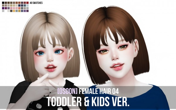 Osoon: Female Hair 04 toddlers and kids version for Sims 4
