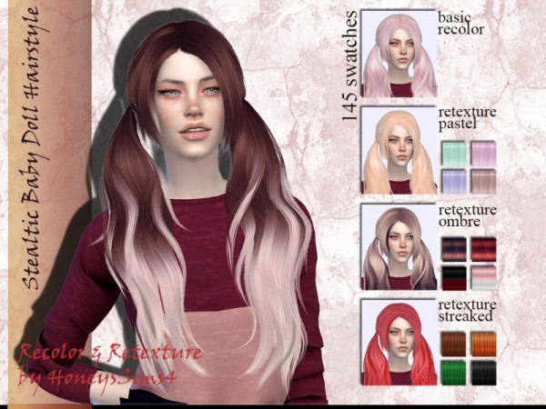 The Sims Resource: Stealthic`s Baby doll hair retextured by Jenn Honeydew Hum for Sims 4
