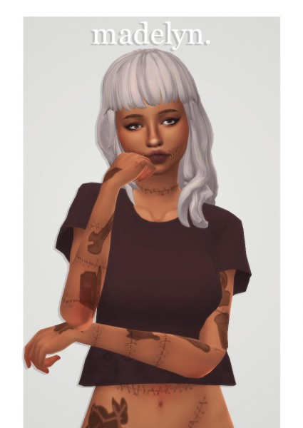 Cowplant Pizza: Madelyn hair recolored for Sims 4