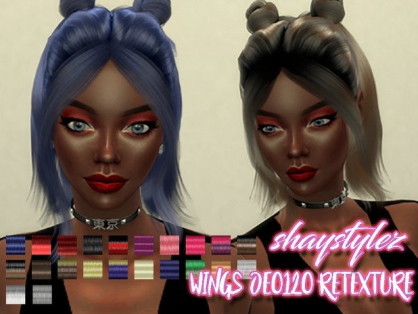 The Sims Resource: Wingssims OE0120 Hair Retextured by shaystylez for Sims 4