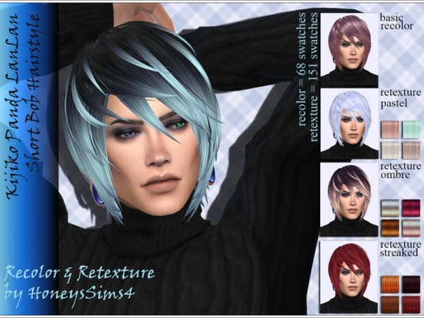 The Sims Resource: Kijiko`s Panda LanLan Short Bob hair retextured by Jenn Honeydew Hum for Sims 4
