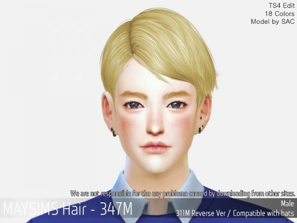 MAY Sims: MAY347M hair retextured for Sims 4
