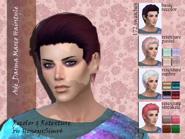 The Sims Resource: Ade`s Marco hair retextured by Jenn Honeydew Hum for Sims 4