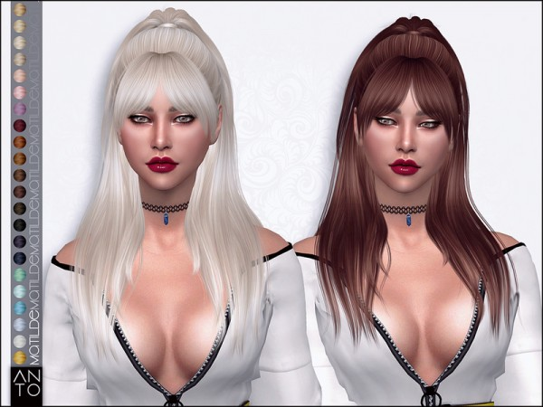 The Sims Resource: Matilde Hair by Anto for Sims 4