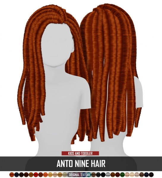 Coupure Electrique: Anto`s Nine hair retxtured  kids and toddlers cersion for Sims 4