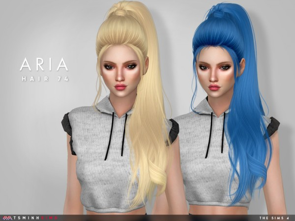 The Sims Resource: Aria Hair 74 by TsminhSims for Sims 4