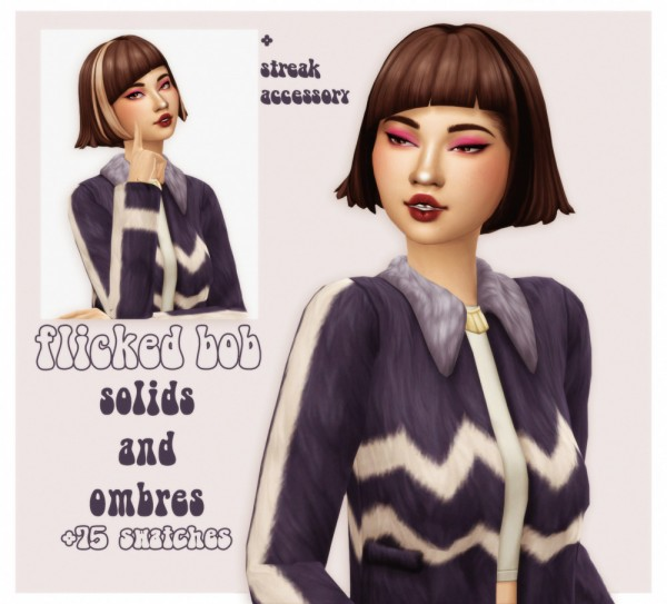 Cowplant Pizza: Short flicked bob hair recolored for Sims 4