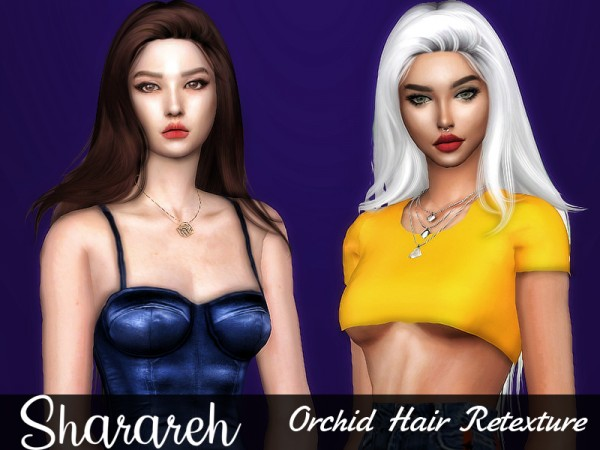 The Sims Resource: Orchid hair retextured by Sharareh for Sims 4